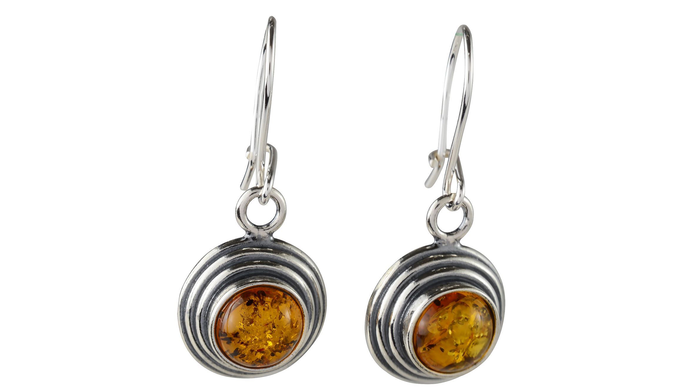 Multicolor Amber Sterling Silver Round Stud Earrings