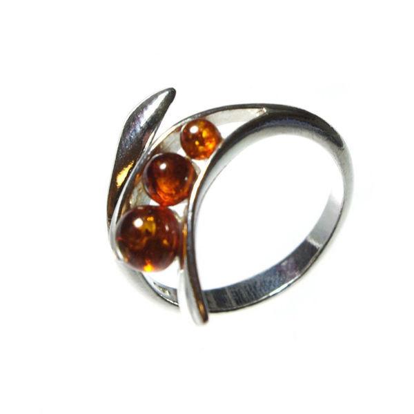 "Baltic Amber Adjustable Ring ""Gabriela"""