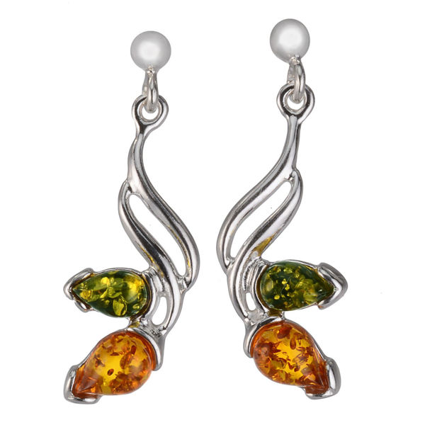 """Sterling Silver and Baltic Amber Earrings """"Helen"""""""