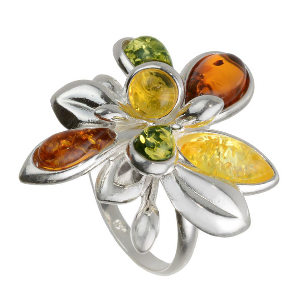 """Baltic Amber Multicolor Ring """"Brigitte"""""""