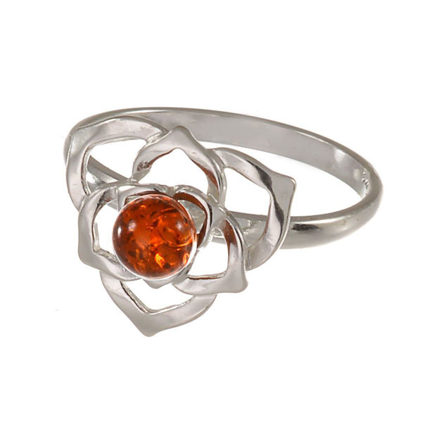 "Sterling Silver and Baltic Amber Ring ""Fleur"""
