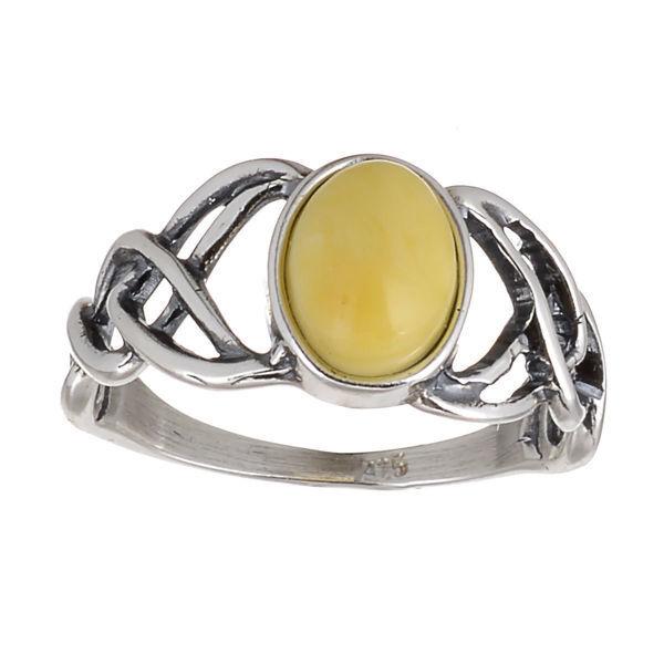 "Baltic Butterscotch Amber Ring ""Celtic Knots"""