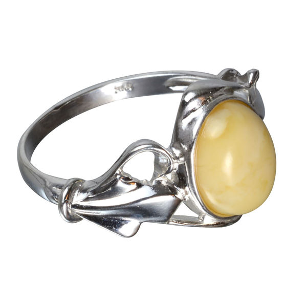 Sterling Silver and Baltic Butterscotch Amber Ring Adalyn; size 8.5