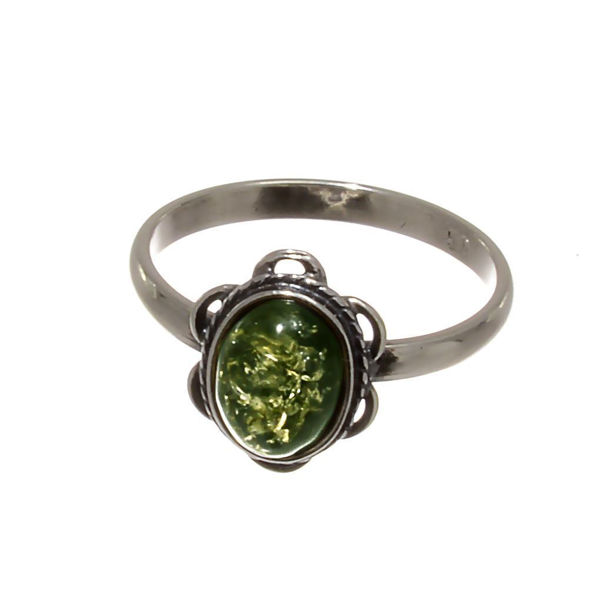 "Baltic Green Amber Ring ""Brittany"""