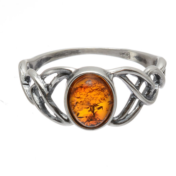 "Baltic Honey Amber ""Celtic Knots"" Ring"