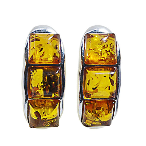 "Sterling Silver and Baltic Honey Amber Earrings ""Julie"""