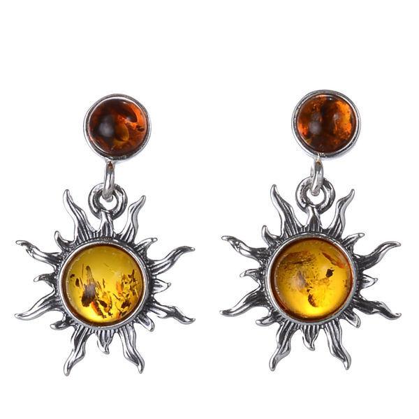 "Baltic Honey Amber Earrings ""Sun"""