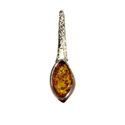 "Sterling Silver and Baltic Honey Amber Pendant ""Ivana"""