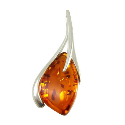 "Sterling Silver and Baltic Honey Amber Pendant ""Madison"""