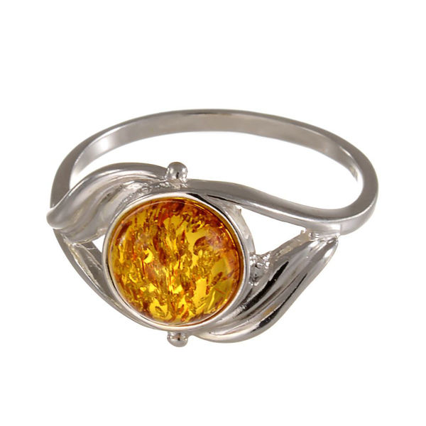 "Sterling Silver and Baltic Honey Amber Ring ""Callie""; size 8.5"