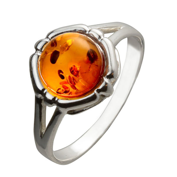 "Sterling Silver and Baltic Honey Amber Ring ""Clara"""