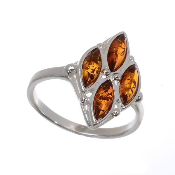 """Sterling Silver and Baltic Honey Amber Ring """"Olivia"""""""