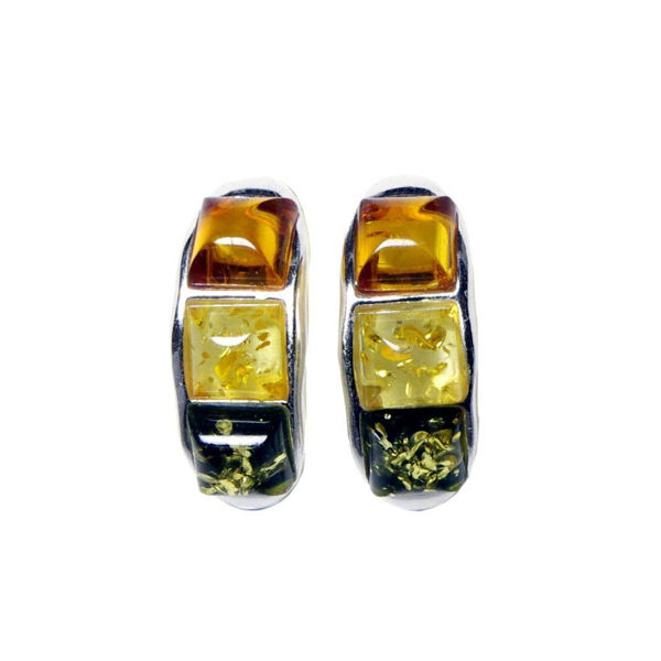 "Baltic Multi Color Amber Earrings ""Mila"""