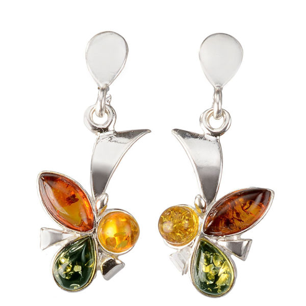 "Baltic Multicolored Amber Earrings ""Clover"""