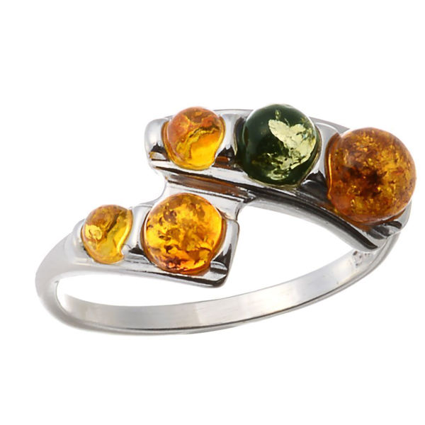 "Baltic Multicolored Amber Ring ""Aria"""