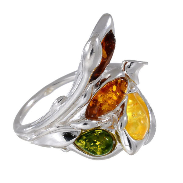 "Sterling Silver and Baltic Multicolored Amber Ring ""Layla"""