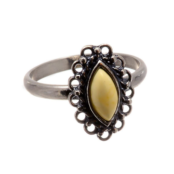 Sterling Silver and Butterscotch Baltic Amber Ring Sadie; Size 6.5