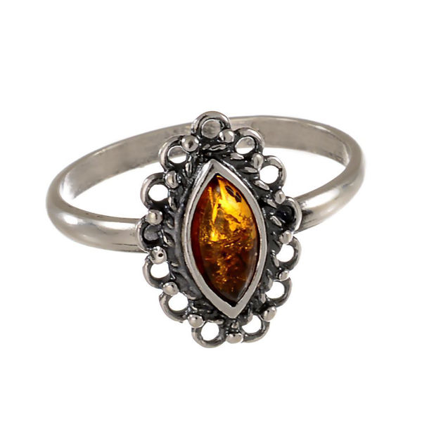 "Honey Baltic Amber Ring ""Joan"""