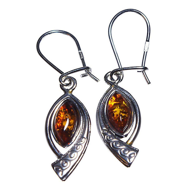 "Sterling Silver Baltic Honey Amber Earrings ""Johanna"""