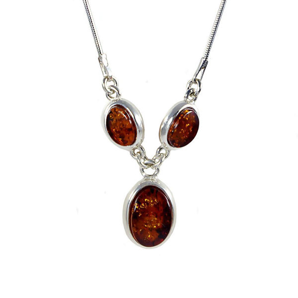 "Sterling Silver and Baltic Honey Amber Necklace ""Milena"""