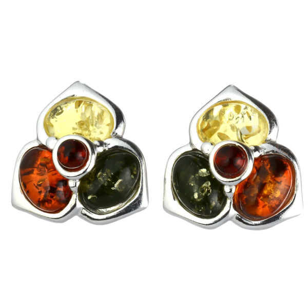"Baltic Multicolored Amber Earrings ""Jasmine"""