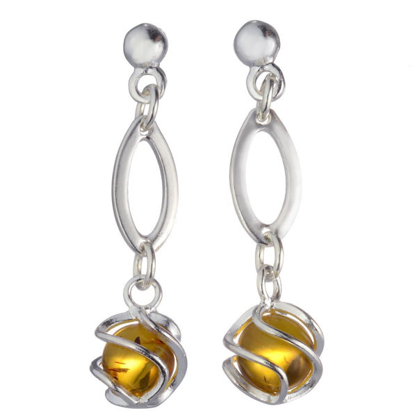 "Sterling Silver and Baltic Honey Amber Earrings ""Grace"""