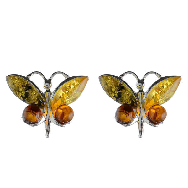 "Baltic Multicolored Amber Earrings ""Butterfly"""