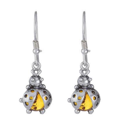 """Baltic Honey Amber Earrings """"Ladybugs"""""""
