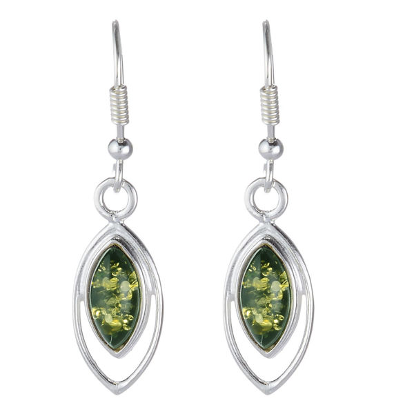 "Baltic Green Amber Earrings ""Patricia"""