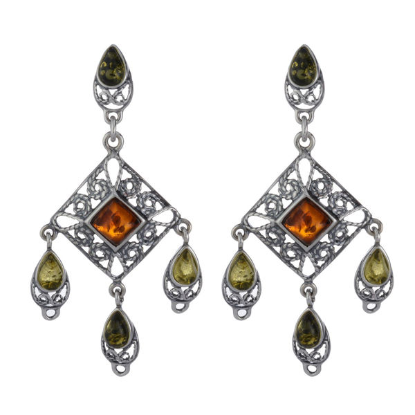 "Sterling Silver and Baltic Multicolored Amber Earrings ""Fay"""