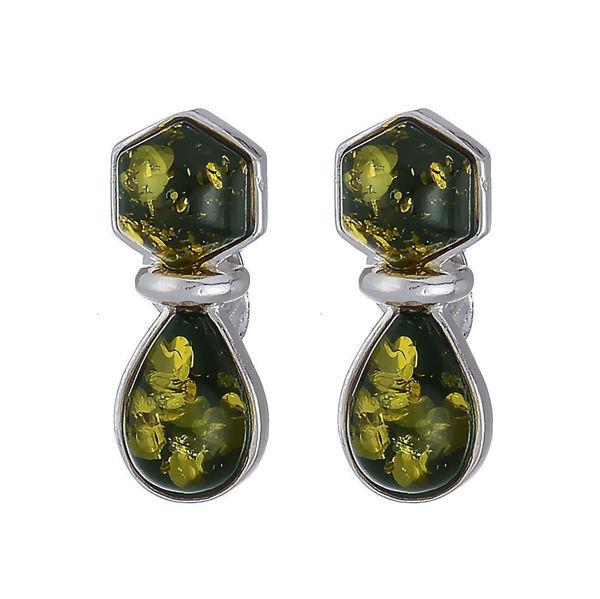 "Baltic Green Amber Earrings ""Rachel"""