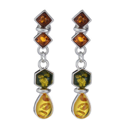 "Baltic Multi Colored Amber Earrings ""Evie"""