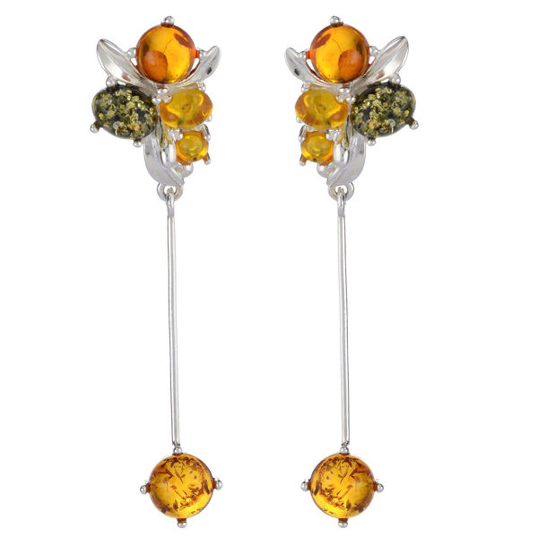 "Baltic Multi Colored Amber Earrings ""Victoria"""