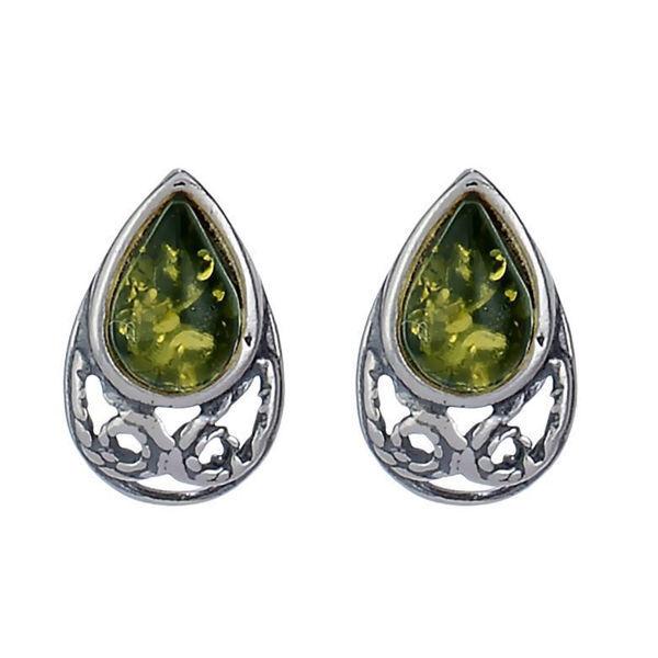 "Baltic Green Amber Earrings ""Phoebe"""