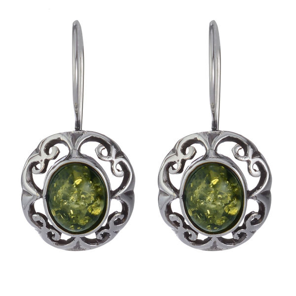 "Baltic Green Amber Earrings ""Camila"""