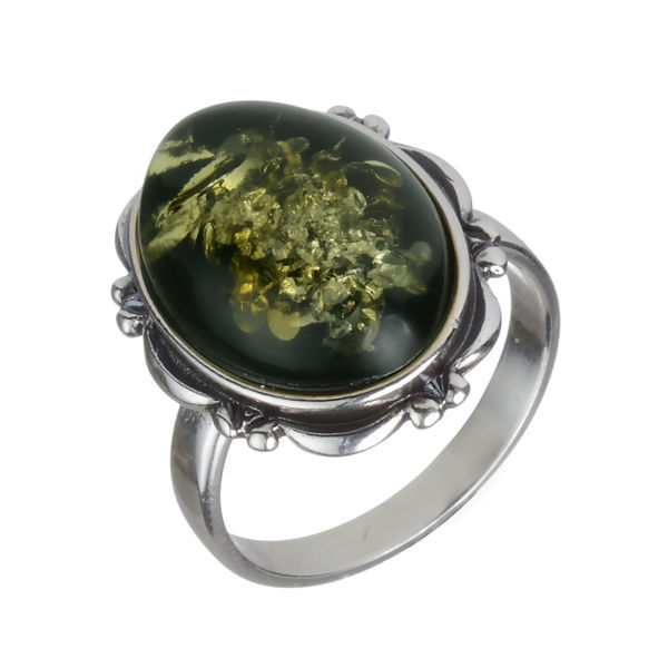 Baltic Green Oval Amber Ring