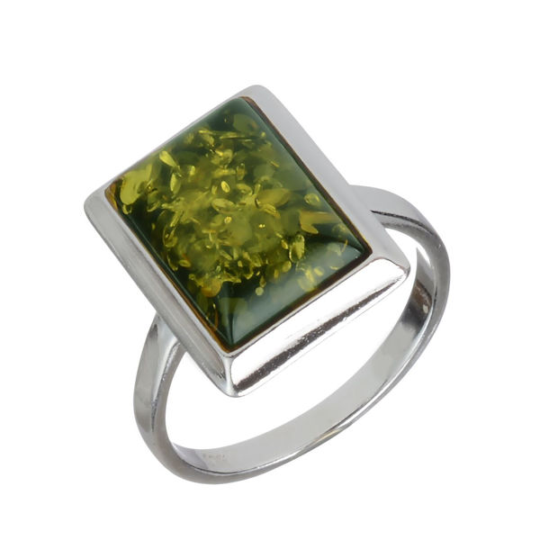 Baltic Green Rectangle Amber Ring