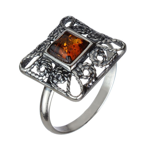 "Baltic Amber Ring ""Ornella"""