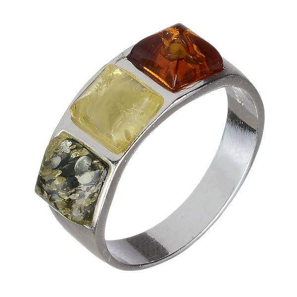 "Baltic Multi Colored Amber Ring ""Mila"""