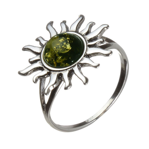 Baltic Green Amber Sun Ring