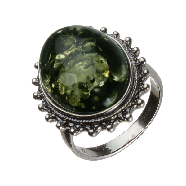 Baltic Green Amber Classic Oval Ring