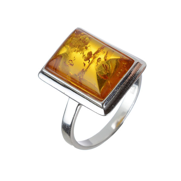 Baltic Honey Rectangle Amber Ring