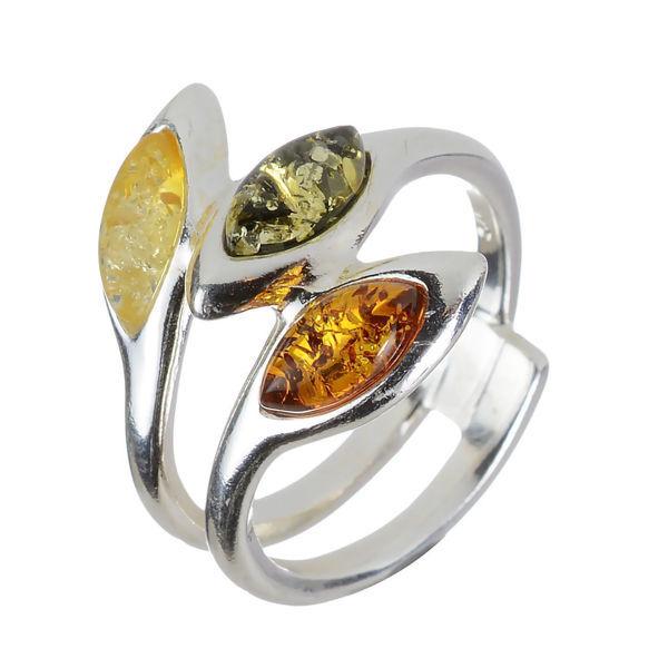 "Baltic Multi Colored Amber Ring ""Vikki"""
