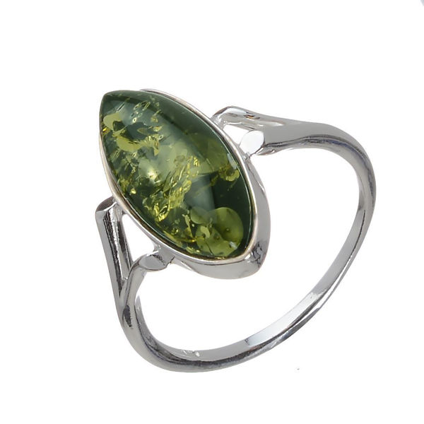 "Baltic Green Amber Ring ""Autumn"""