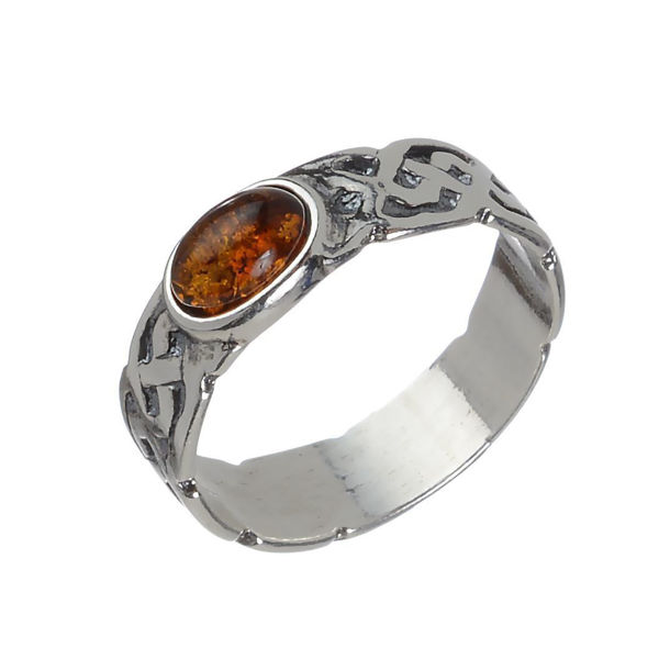 "Baltic Honey Amber Ring ""Gothic"""