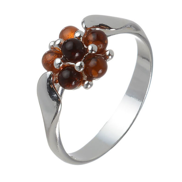 "Baltic Honey Amber Ring ""Aster"""