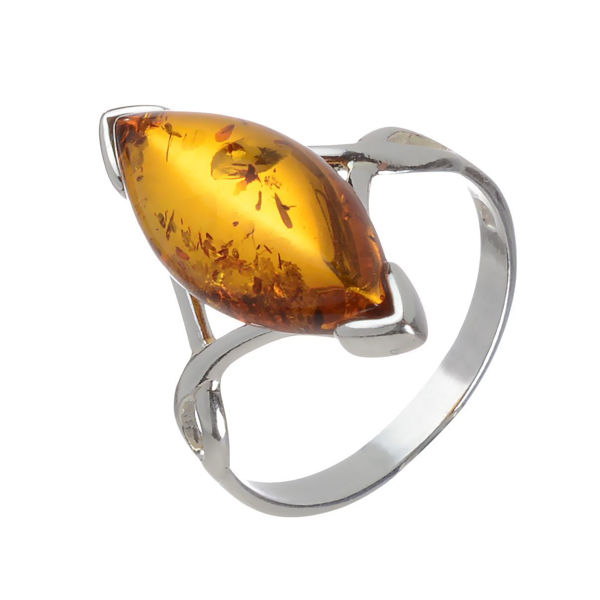 "Baltic Honey Marquise Cut Amber Ring ""Harriet"""