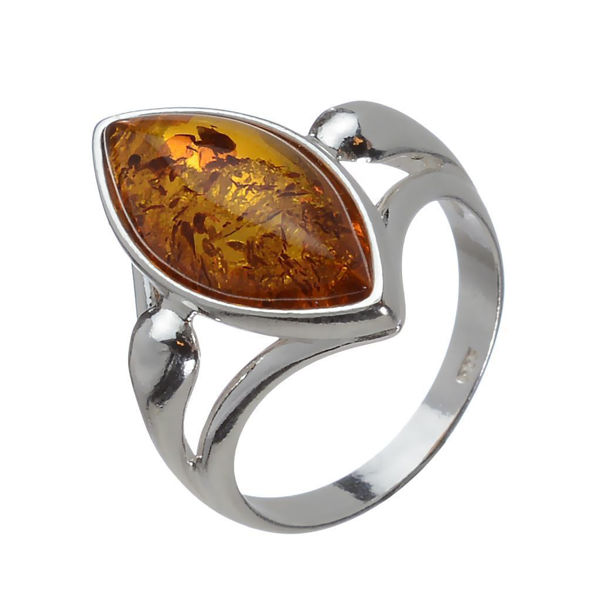 "Baltic Honey Marquise Cut Amber Ring ""Tricia"""