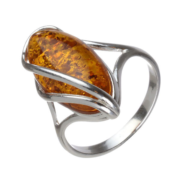 "Baltic Honey Oval Amber Ring ""Micaela"""