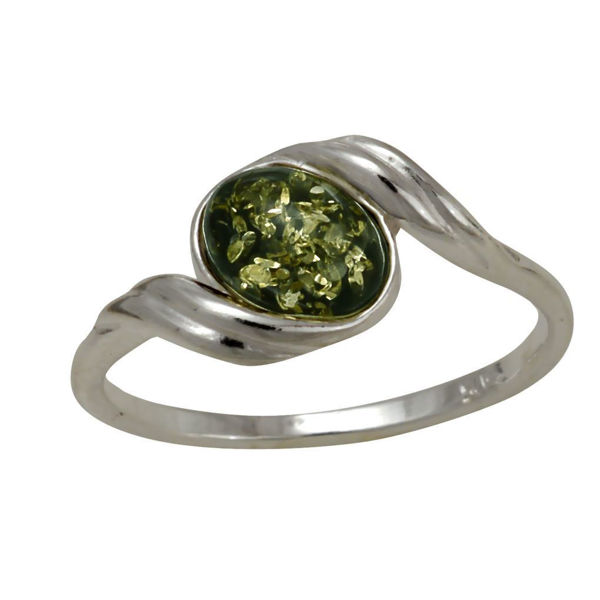 "Baltic Green Amber Ring ""Estelle"""